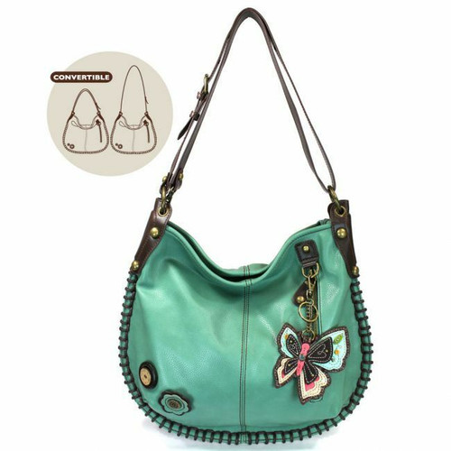 Chala CONVERTIBLE Hobo Large Bag BUTTERFLY II Pleather Teal Green w/ Coin Purse