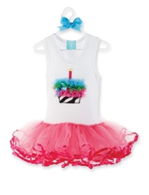 Mud Pie CUPCAKE Zebra Birthday TUTU Dress 6M,18M,3T