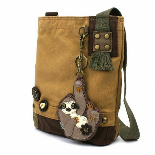 New Chala Messenger Patch Crossbody Brown Bag Canvas gift Coin Purse SLOTH