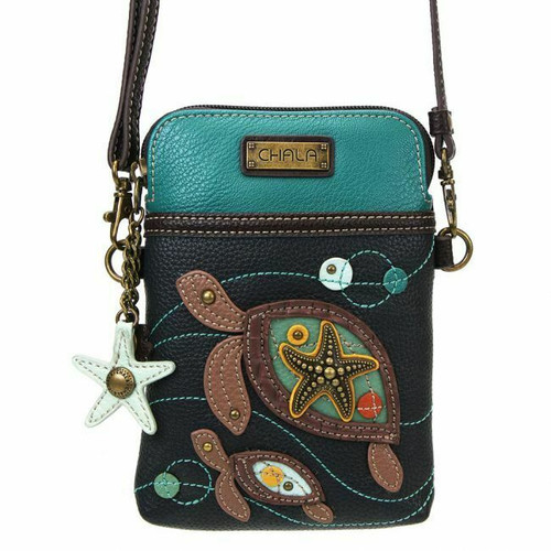 New Chala Cell Phone Purse Crossbody Pleather Convertible TWO TURTLES Navy gift6