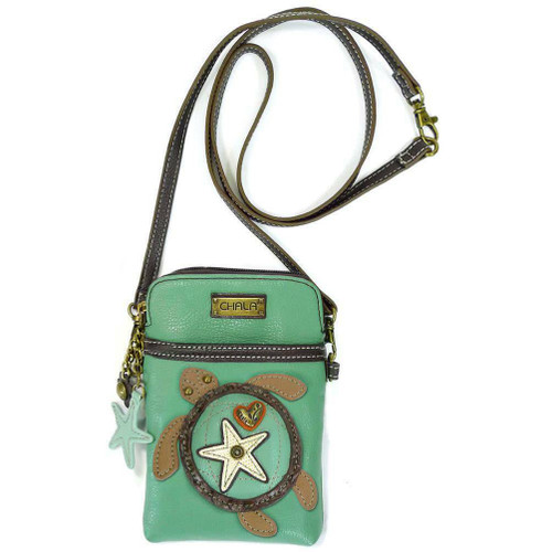 New Chala Cell Phone Purse Crossbody Pleather Convertible TURTLE Teal Green gift