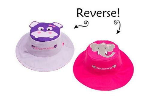New FlapJack Kids Reversible Sun Hat UPF 50+ HIPPO ELEPHANT Medium 2-4 yrs Pink