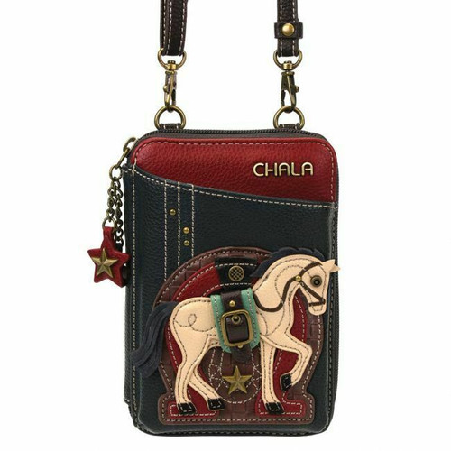 Chala Wallet Cross-body Pleather Organizer Cell Phone Bag HORSE Gen2 Navy Blue