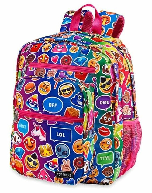New Backpack Bag EMOJI EMOJICON Canvas Full Size Free Fidget Spinner Pink Blue