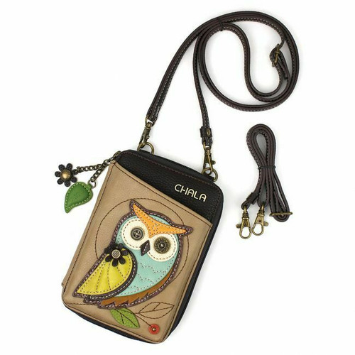 New Chala Wallet Crossbody Pleather Organizer Cellphone Bag OWL Taupe Brown Gift