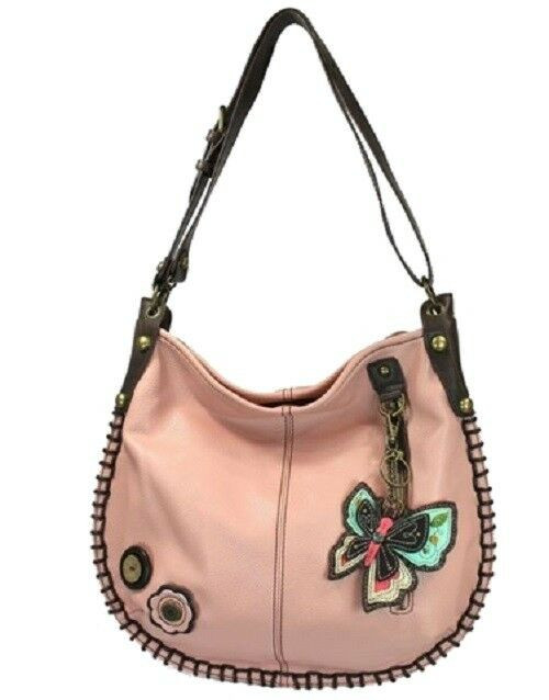 New Chala Hobo Crossbody Large Tote Bag BUTTERFLY II Pleather PINK Convertible