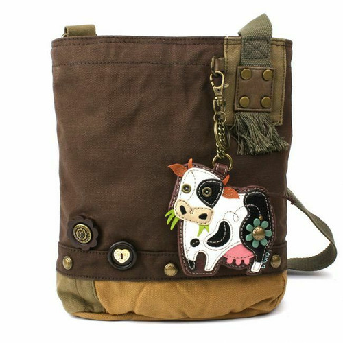 NEW Chala Messenger Patch Crossbody Bag Canvas Dark Brown Gift COW Coin Purse
