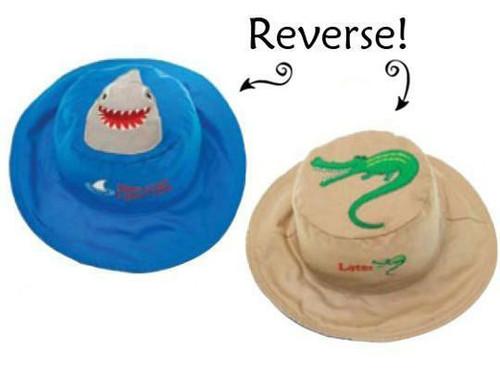 New FlapJack Kids Reversible Sun Hat UPF 50+ SHARK ALLIGATOR Med 2-4 yrs Blue