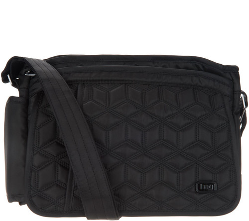New Lug Travel WINGS Messenger Crossbody Bag Quilted Black w/ RFID protection