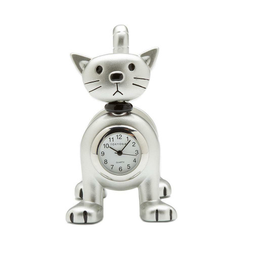 NEW TOKYObay Tokibot Desk Clock Home Decor SILVER CAT Springy Mother's Day Gift