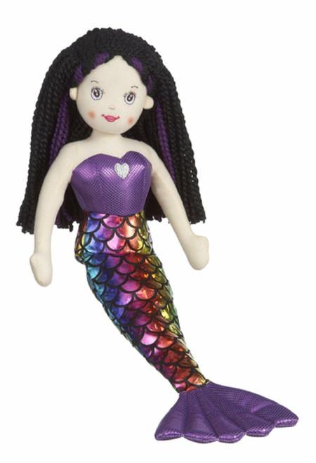 "New Ganz 18"" Shimmer Cove Mermaid KAIYA Purple Stuffed Toy Plush Doll Black"