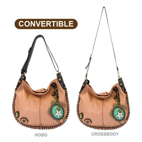 New Chala Hobo Crossbody Large Tote Bag SEA TURTLE Pleather PINK Convertible