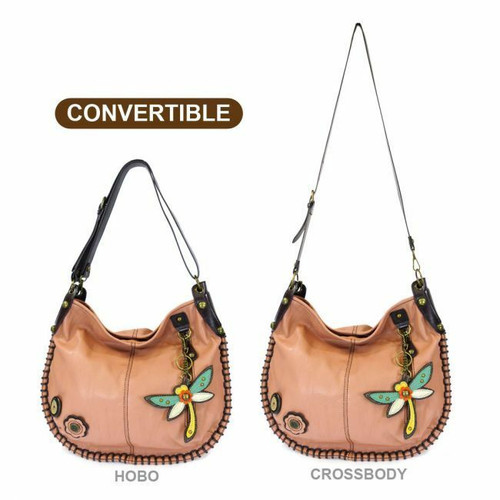 New Chala Hobo Crossbody Large Tote Bag DRAGONFLY Pleather PINK Convertible