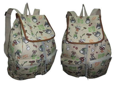 New My Neighbor TOTORO Beige Canvas Full Backpack School work Anime 60132 gift