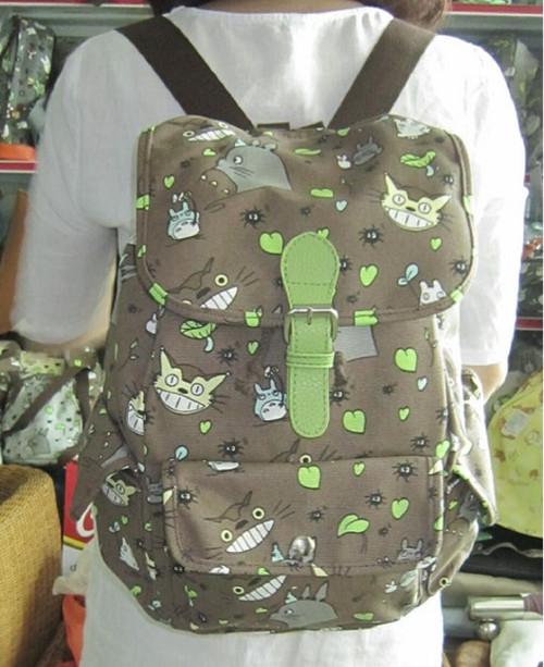 New My Neighbor TOTORO Canvas Backpack School work Anime 60293 gift Kawaii Brown
