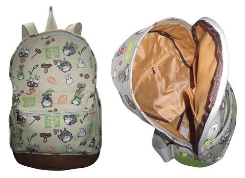 New My Neighbor TOTORO Beige Canvas Backpack School work Anime 60133 gift Kawaii