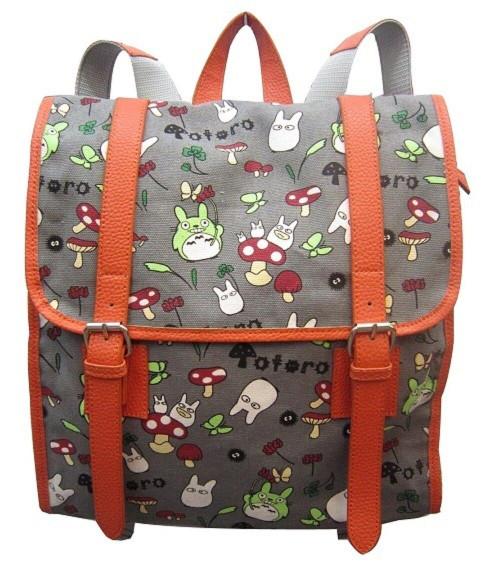 New My Neighbor TOTORO Gray Large Backpack School Kids Anime Kawaii Work 60165