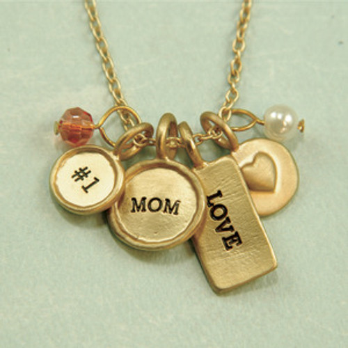 Lucky Feather  MOM Charm Necklace Pendant Mother