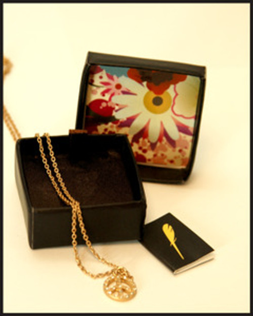 Lucky Feather PEACE SIGN Necklace Pendant Nice Gift