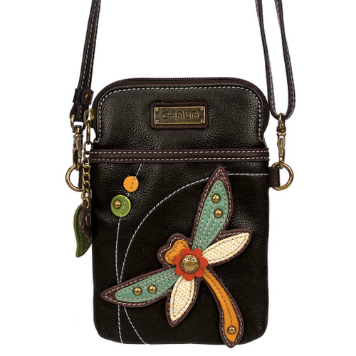 Chala Cell Phone Purse Crossbody PLeather Convertible DRAGONFLY Turquoise BLACK