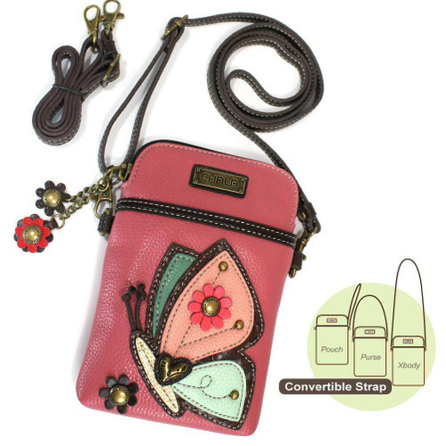 Chala Cell Phone Purse Crossbody PLeather Convertible BUTTERFLY Pink gift