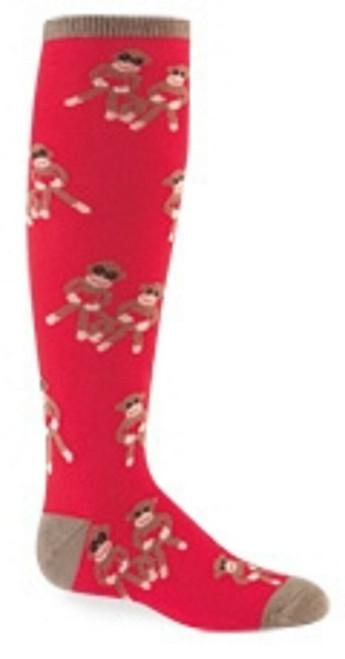New Sock it to Me Knee High Socks SOCK MONKEY Red  Age 4-7  Girls Boys gift