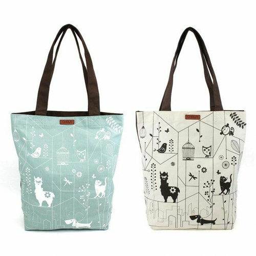 New 2 Pc Chala ECO TOTE Shopping Bag  White Green Holiday gift Llama Cat Dog etc