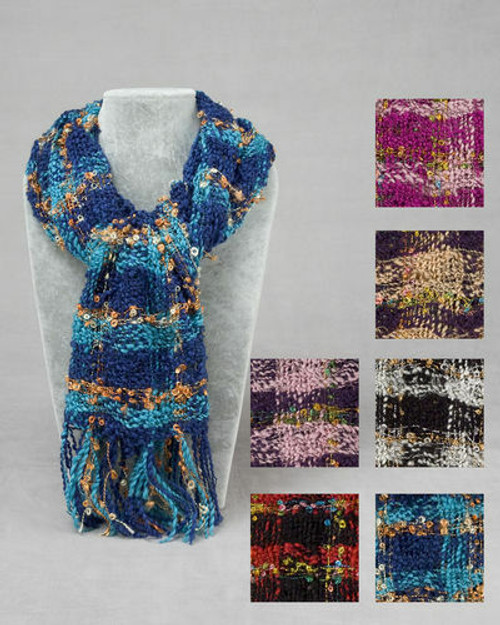 """New 11"""" X 66"""" LOOSE WEAVE TWEED Long SCARF PICK A COLOR"""