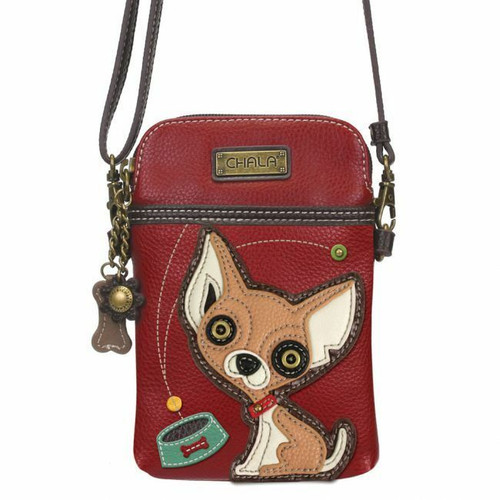 Chala Cell Phone Purse Crossbody Pleather Convertible CHIHUAHUA Dog Burgundy Red