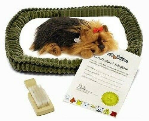 New Perfect Petzzz Breathing Dog Puppy Stuffed Toy Plush YORKIE w/ bed + brush