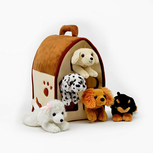 NEW  Unipak DOG HOUSE Plush toy gift 5 Dogs in Carrying Case Stuffed Animal