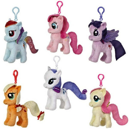 New My Little Pony Set of 6 Clip-On Plush Dolls Dash, Sparkle etc 4.5 inch gift