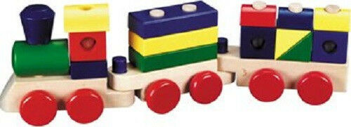 New Melissa & Doug WOODEN STACKING TRAIN Great gift for Boys Girls 2 yrs. up