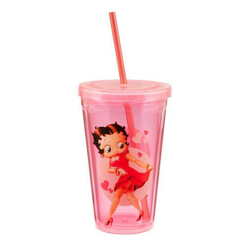 New Vandor BETTY BOOP Red 18 ounce Acrylic Travel Cup w/ Lid & Straw BPA FREE