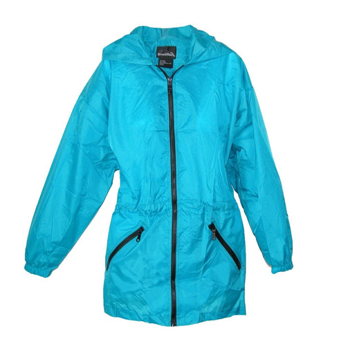New Shed Rain Packable Anorak Jacket TEAL BLUE Lightweight Travel Small Med