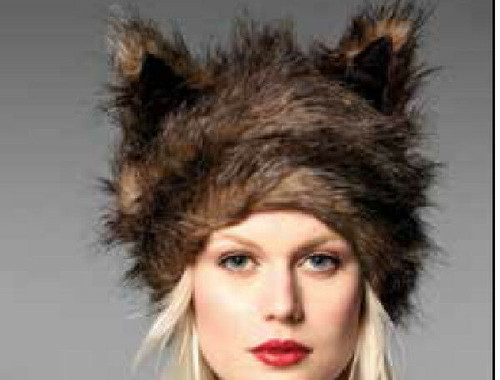 New San Diego Co. Brown  FAUX FUR EARS HAT One size gift Stylish Chic Winter hat
