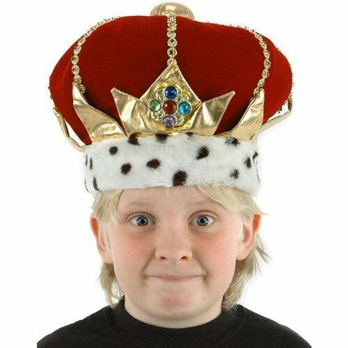 New Elope KID'S KING Hat Child Headpiece Costume Adjustable ages 3-12 yrs. Red