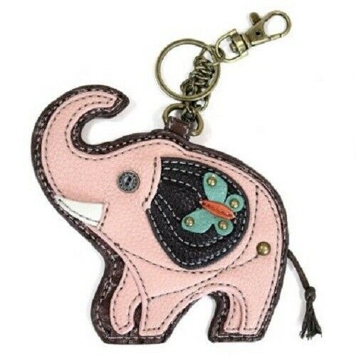 New Chala Purse Bag Charm Clip On Key Ring Fob PINK ELEPHANT Coin Purse gift