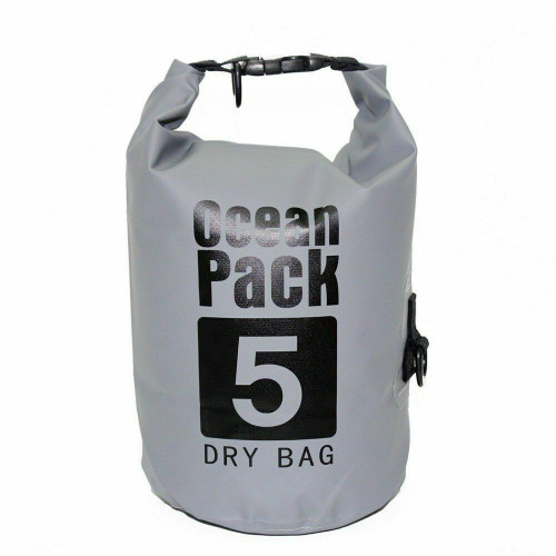 New Ocean Pack Dry Bag Water Proof Backpack Bag Beach Snow 5L  Small GRAY GREY