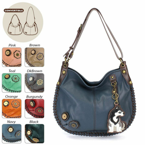 Chala CONVERTIBLE Hobo Large Bag  Peather Navy Blue gift coin purse HUSKY Dog
