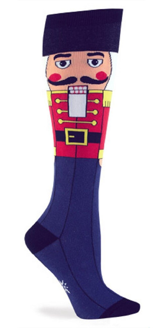 New Sock it to Me Knee HIgh Socks NUTCRACKER Ballet 5-10 Christmas Holiday Blue
