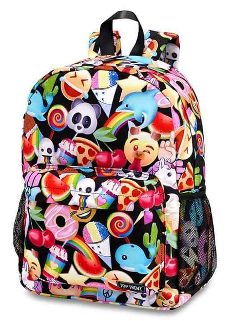 New Backpack Bag EMOJI UNICORN Canvas Full Size BLACK  w/ Fidget Spinner Scented