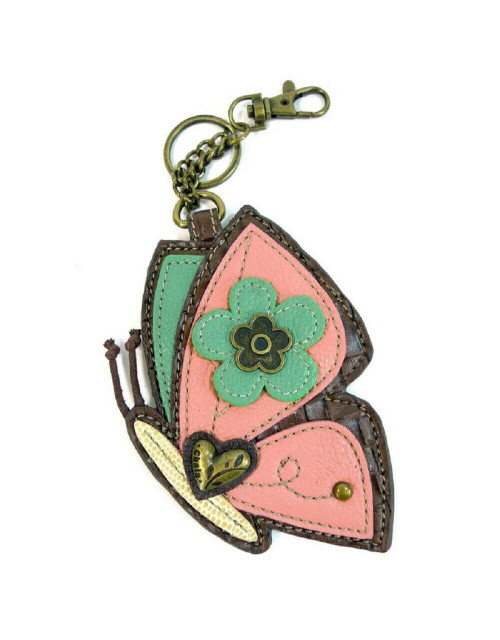 New Chala Purse Bag Charm Clip On Key Ring Fob PINK BUTTERFLY Coin Purse gift