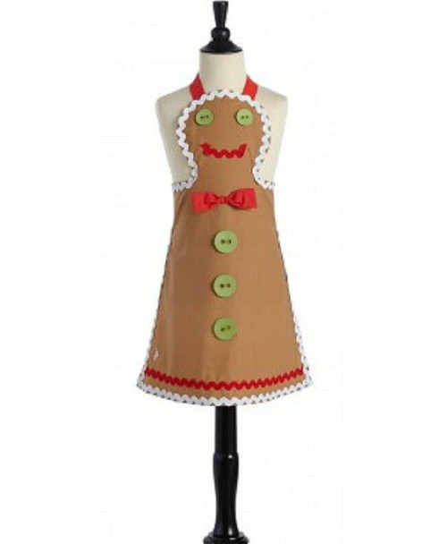 New Jessie Steele Brown Child Kid GINGERBREAD MAN Apron Holiday Christmas  gift