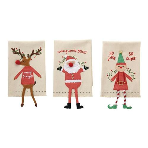 Ensemble Neuf 3 Mud Pie Vacances Noël Personnage pendant Jambe Serviettes Elfe