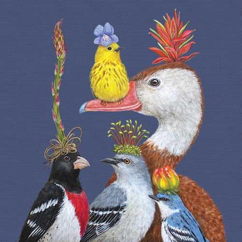 "New Vicki Sawyer 40 Paper Napkins WILLIE WARBLER & GUESTS Birds 5x5"" folded gift"
