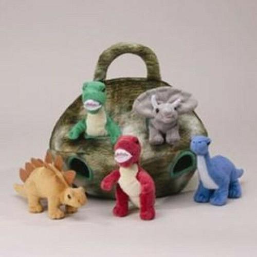 NEW  Unipak DINOSAUR HOUSE Plush toy gift 5 Dinos  in Carrying Green Egg Case