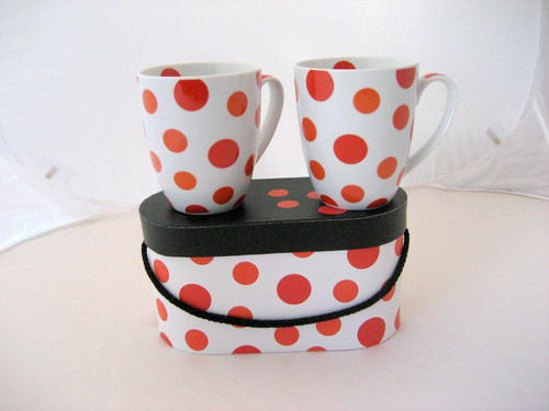 New PPD 2 Mugs Gift Set SPOT DOTTED RED in a Gift Box