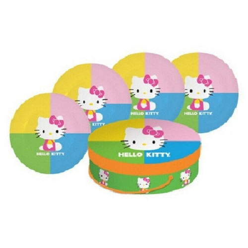 "New Hello Kitty 4 pc POP KITTY  PLATE Set Porcelain 8"" in gift box PINK Multi"