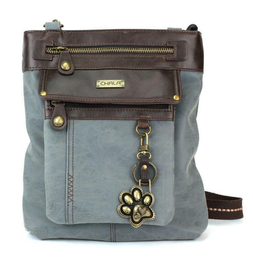 New Chala Handbag GEMINI Crossbody PAW PRINT Bag Messenger Indigo blue Pleather